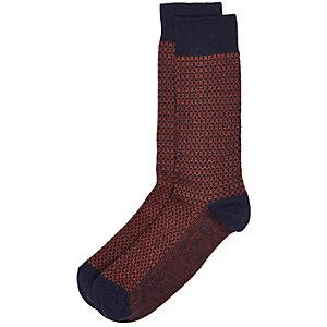 Navy tile print socks