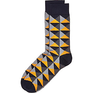 Navy geometric print socks