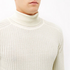 Ecru ribbed roll neck jumper