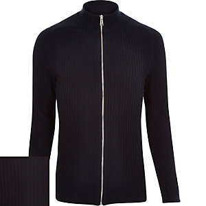 Navy ribbed zip through jumper