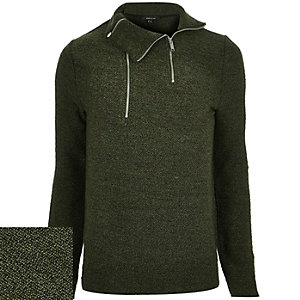Dark green funnel neck jumper