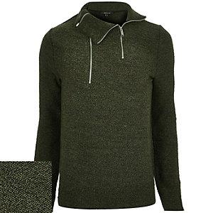 Dark green funnel neck jumper