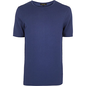 Blue mesh panel short sleeve jumper