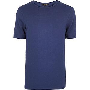 Blue mesh panel short sleeve sweater