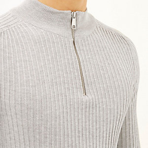 Grey ribbed zip collar jumper