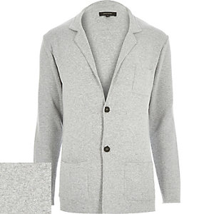 Grey knitted blazer