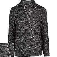 Black marl asymmetric zip front jacket