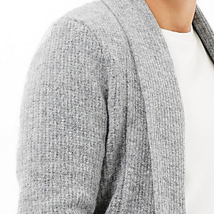 Grey wool-blend longline open cardigan