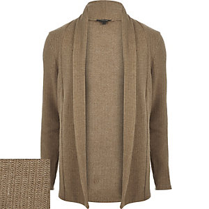 Brown wool-blend longline open cardigan