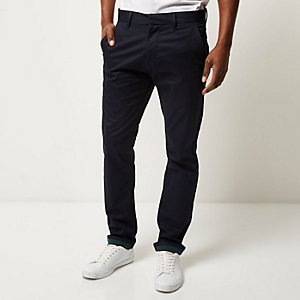 Navy premium lightweight slim chinos