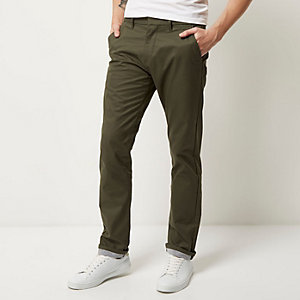 Khaki premium lightweight slim fit chinos