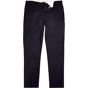 Navy cotton Oxford trousers