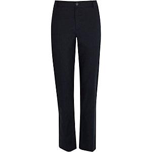 Navy linen-blend trousers