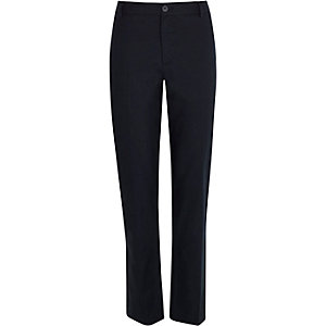 Navy linen-blend pants