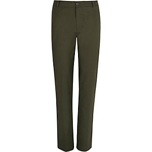 Khaki green linen-blend trousers