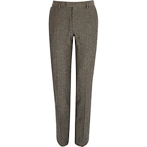 Grey wool-blend herringbone slim fit trousers