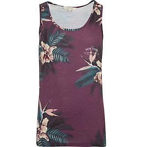 Purple floral cluster print vest
