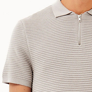 Grey zip neck ribbed polo shirt