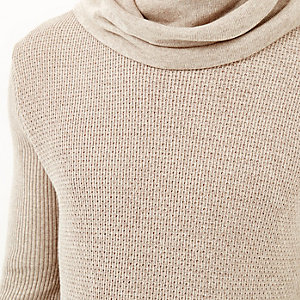 Stone cowl neck jumper