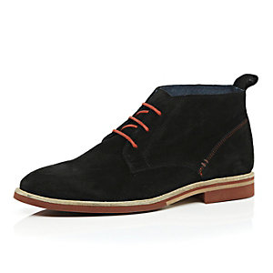 Black suede colour lace desert boots