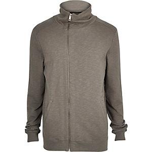 Light brown asymmetric funnel neck jacket