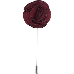 Dark red flower lapel pin