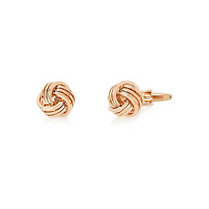 Rose gold tone knot cufflinks