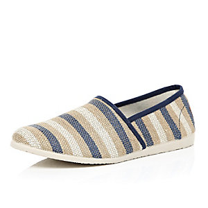 Beige striped slip on plimsolls