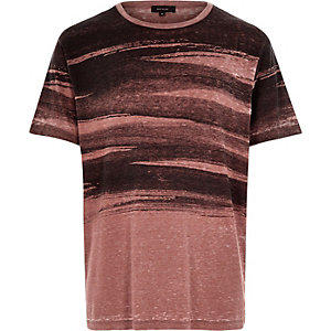 Red brush stroke print t-shirt
