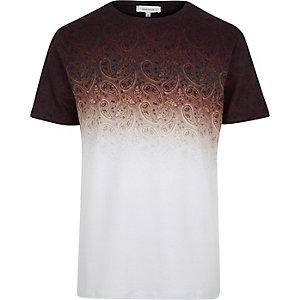 Rust brown faded paisley print t-shirt
