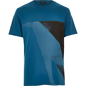 Turquoise block colour print t-shirt