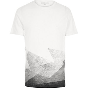 White faded shape print t-shirt