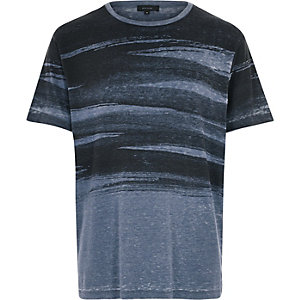 Blue brush stroke print t-shirt