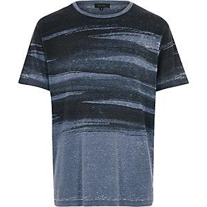 Blue brush stroke print t-shirt