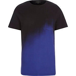 Black and blue fade pocket t-shirt