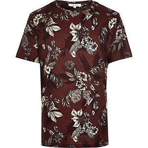 Dark orange floral print t-shirt
