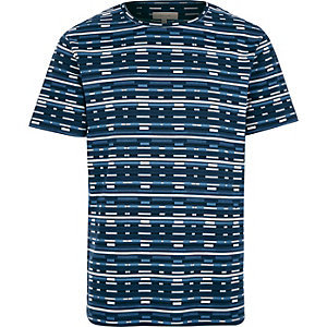 Blue printed jacquard t-shirt