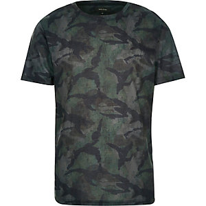 Khaki faded camo print t-shirt