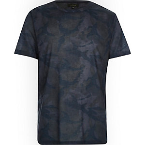 Blue faded camo print t-shirt