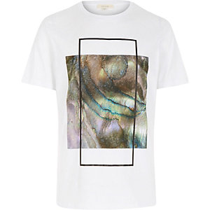 White iridescent box print t-shirt