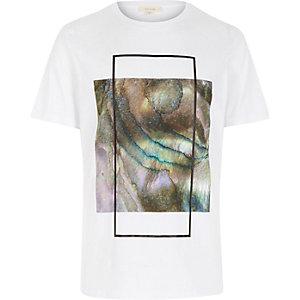 White iridescent box print t-shirt
