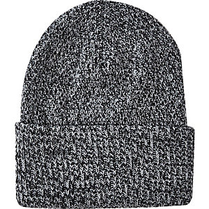 Grey deep cuff twist knit beanie