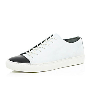 White contrast toe lace up trainers