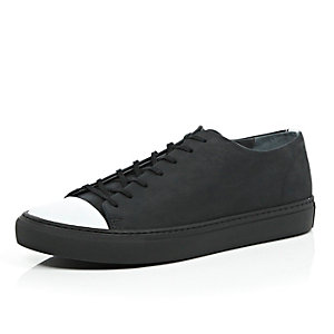 Black leather contrast toe lace up trainers