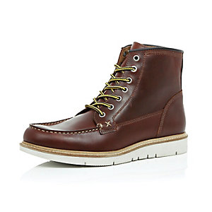 Brown leather modern hiker boots
