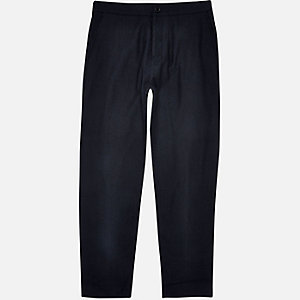 Navy wool-blend jogger pants
