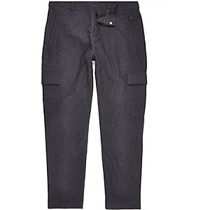 Grey wool-blend cargo joggers
