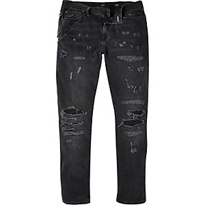 Black extreme ripped Dylan slim jeans