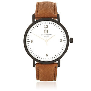 Brown minimal face watch