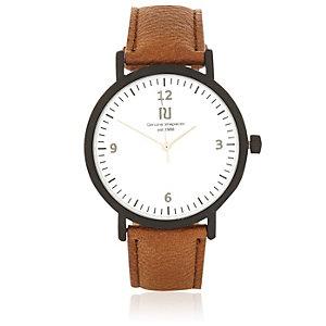Brown minimal face watch